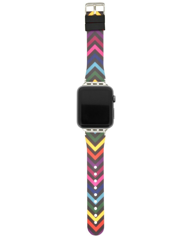 I.N.C. Womens Black Silver Rainbow Chevron Silicone 42mm Apple Watch Band Strap