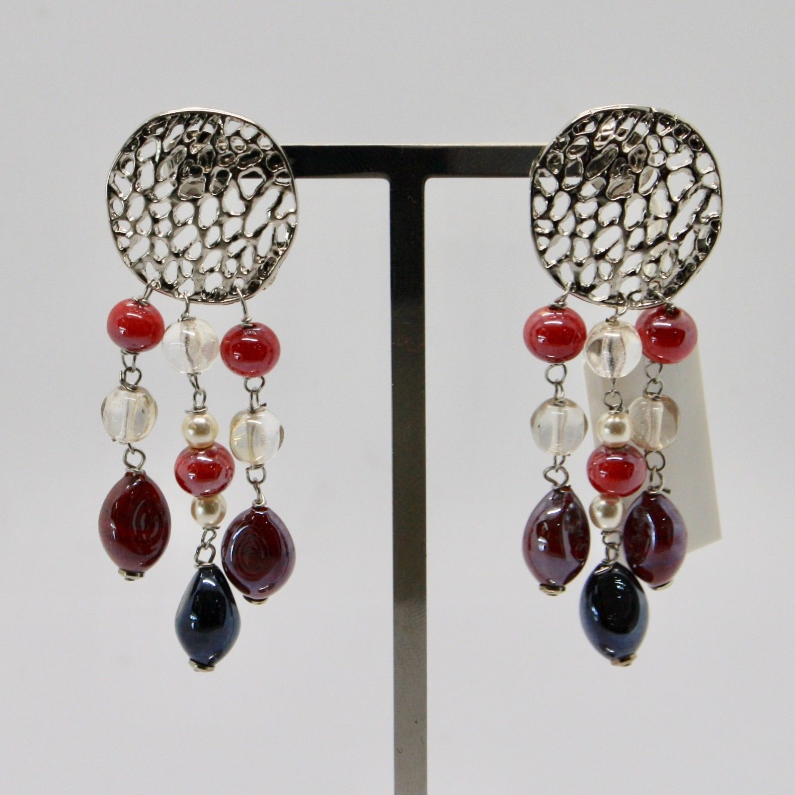 ANTICA MURRINA VENEZIA EARRINGS WITH MULTICOLOR MURANO GLASS AND STEEL OR571A11