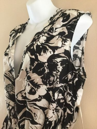 NEW Womens ANNE KLEIN Black White Floral   Wear to Work Sleeveless Dress 12 L