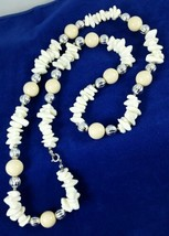 """Vintage Estate Faux Coral and Beaded Necklace 30"""" Ivory Beige Silver Strand - $9.99"""