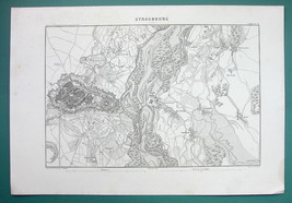 1846 MAP - FRANCE Strasbourg & Environs incl. Fortifications - $18.90