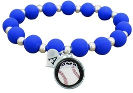 Custom Baseball Princess Silicone Stretch Bracelet Choose Initial & Team... - $12.22+