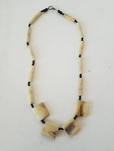 Handmade Native Necklace With Black Beads - $10.88