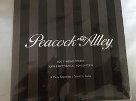 Peacock Alley 500th Egyptian Cotton Sateen 4pc Queen Sheet Set Light Grey Nip - $141.07