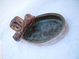 Owl Ashtray Figurine Trinket tray handmade Glazed Westmarland 78 Vtg woodland image 2