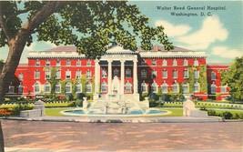 Linen Postcard Da722 Walter Reed General Hospital Washington Fountain St... - $7.00