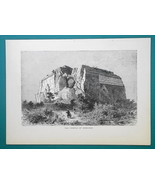 INDIA Temple of Mengoun - 1877 Wood Engraving Illustration - $8.09