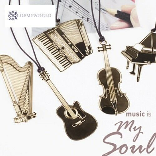 6 pcs/lot Cute Gold Metal Bookmark Fashion Musial Piano Guitar Bookmark for Book