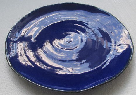 Hand Thrown Cobalt Blue Color Ceramic Pottery Large Dinner Plate Made In Italy