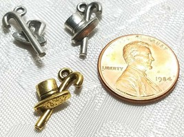 TOP HAT AND CANE FINE PEWTER PENDANT CHARM image 2
