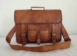 "18"" Classic Leather Messenger Satchel Laptop Leather Bag Leather Messeng... - $75.00"