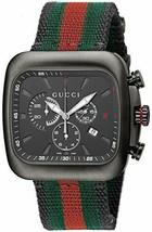 GUCCI Quartz Coupe Black Dial Chronograph Man's Watch Stainless YA131202... - $3,756.64