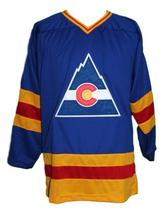 Custom Name # Colorado Retro Hockey Jersey Sewn New Blue Lever #9 Any Size image 1