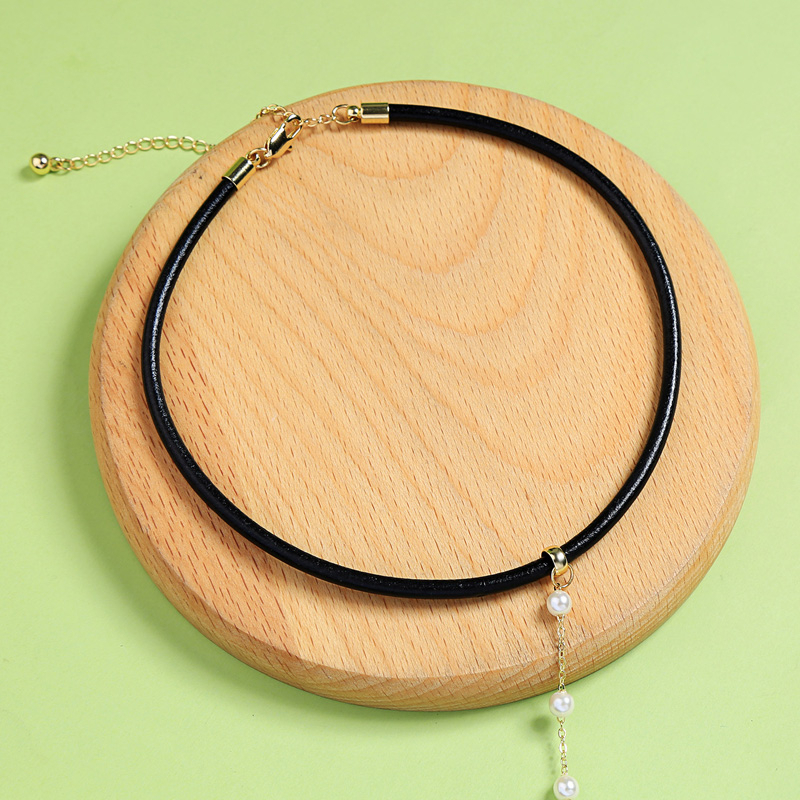 Black Color Initation Leather Long Pendant Choker Necklace For Women Jewelry