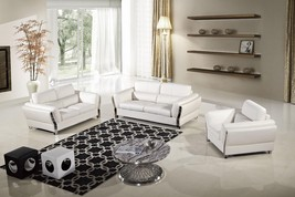 AE690-W Modern 3pcs White Leather Sofa Set - $2,418.59