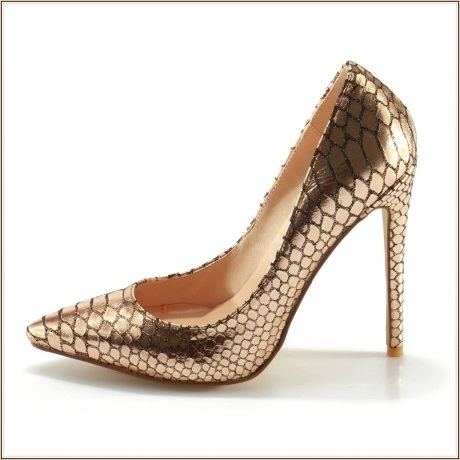 Metallic Gold Patent Leather Pointed Toe Embossed Snake Skin Stiletto Heels