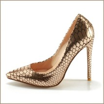 Metallic Gold Patent Leather Pointed Toe Embossed Snake Skin Stiletto Heels  image 1