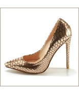 Metallic Gold Patent Leather Pointed Toe Embossed Snake Skin Stiletto H... - $192.95