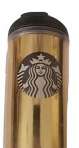 Starbucks Gold black Flip Top Vacuum Insulated Tumbler 16oz screw on lid... - $10.49