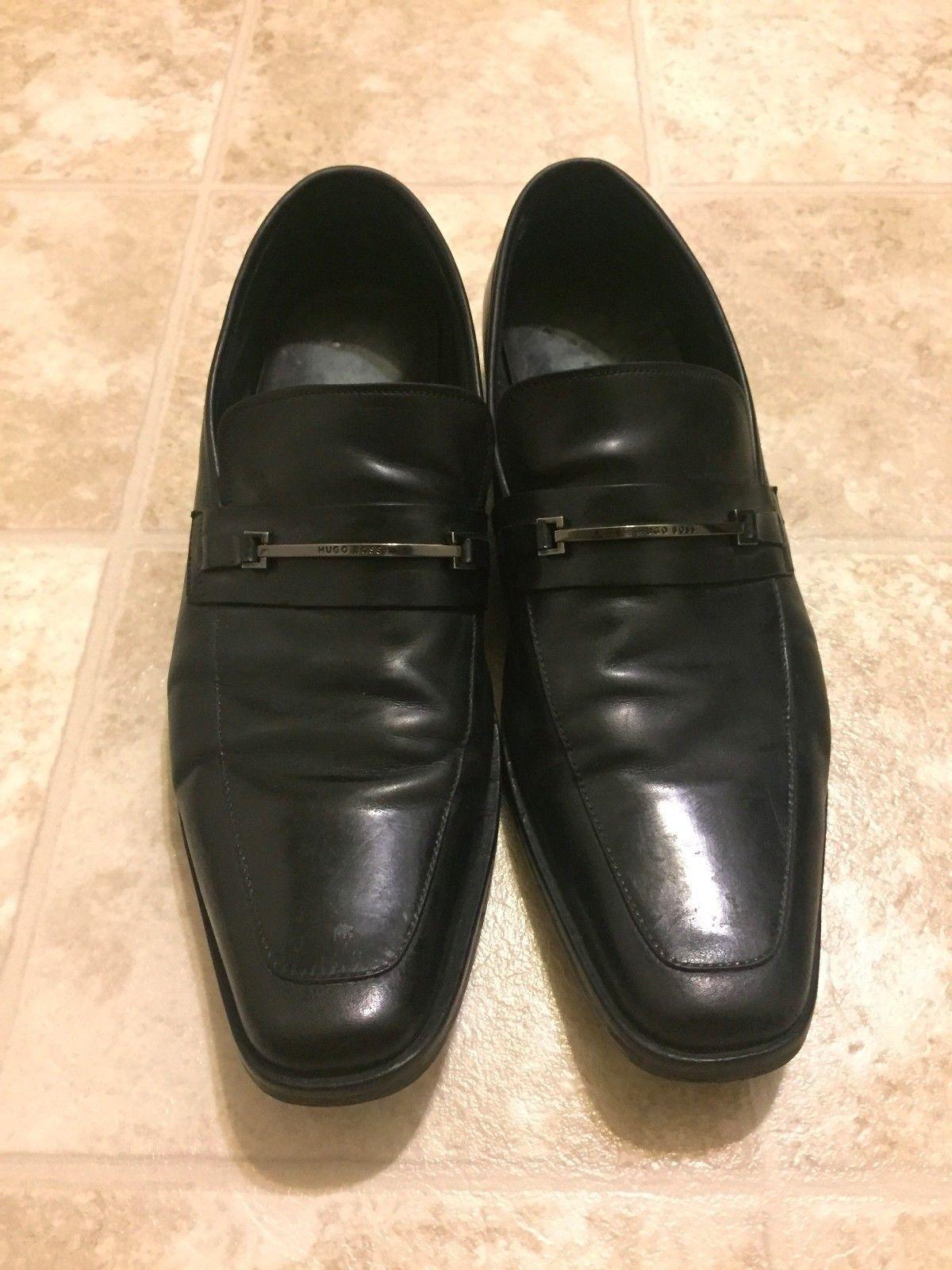 hugo mens carl black leather loafers dress shoes