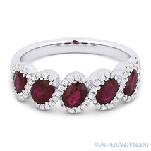 1.70 ct Oval Cut Red Ruby & Diamond 14k White Gold Anniversary Ring Wedd... - £1,387.01 GBP