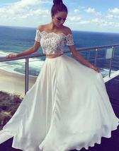 Short Sleeve Lace Two Pieces Wedding Dresses A Line Women Bridal Gowns C... - $128.00