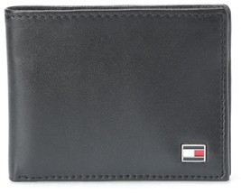 New Tommy Hilfiger Men's Leather Credit Card Wallet Slim Bifold Black 31TL13X008