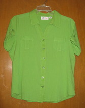 d & co Denim & Company Button Up Blouse Green Size M - $7.91