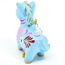 Handcrafted Painted Ceramic Blue Horse Country Farm Ornament Made Peru image 3
