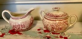 CURRIER & IVES PINK Sugar bowl creamer Washington birthplace homer Laughlin Vtg - $39.59
