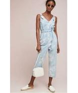 Anthropologie Pilcro Denim Jumpsuit XL Light Wash Floral Removable Sash ... - $59.39