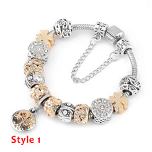 Crystal Heart Gold Charm Bracelet For Girl Murano Glass Beads Brand Brac... - $15.99+