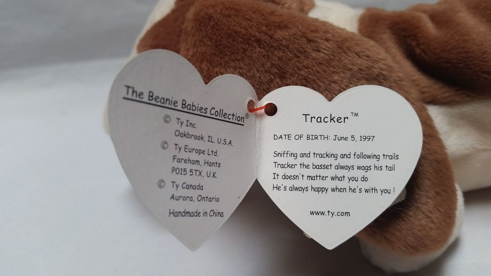 db61570727f Ty Beanie Tracker Babies Baby Basset Hound Dog Toy Swing Tag Error 97 98  Retired