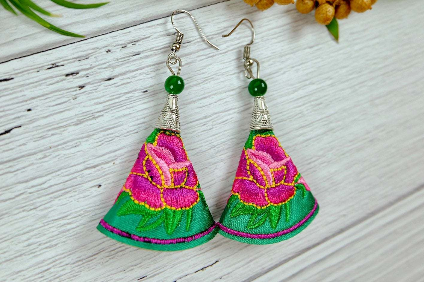 Floral Embroidery Dangle Earrings, Colorful Fabric Handmade Jewelry image 2
