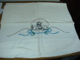 VINTAGE Embroidered Cotton Pillowcase  kittens cats  18 X 30 - $5.99