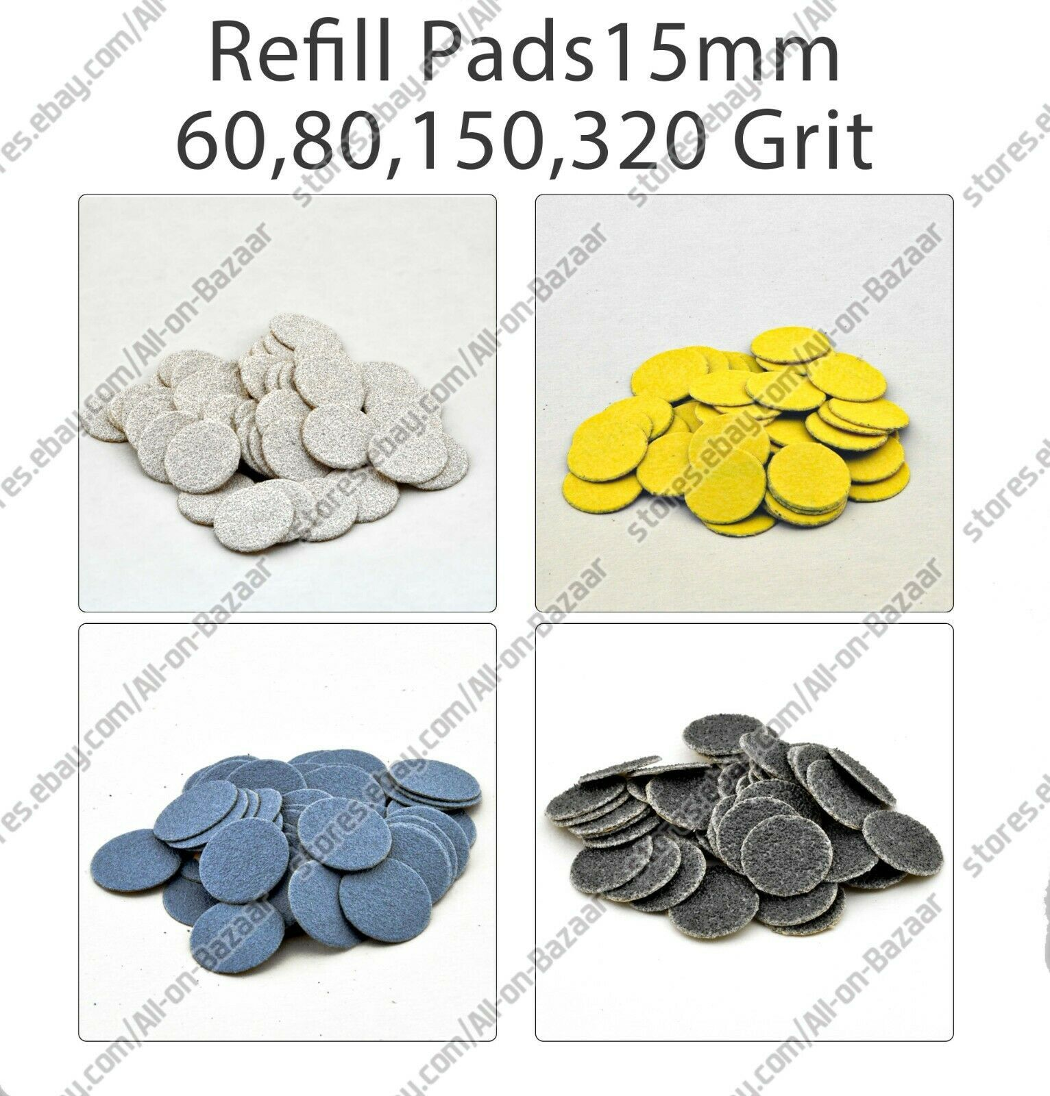 New Refill pads for pedicure 15 mm 60, 80, 150, 320 grit  - $10.89 - $22.76