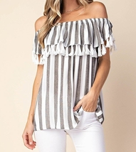 Striped Top with Fringe, Striped Off Shoulder Top, Black White Stripes, Womens