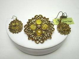Premier Designs Daybreak Brooch and Earrings Retired 2007 Antiqued gold ... - $13.77