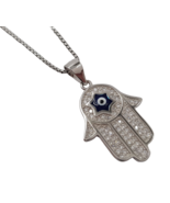 925 Sterling Silver Hamsa Pendant Star of David Necklace Evil Eye Protec... - $27.96+
