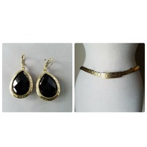 Vintage Fashion Accessories Set Gold Tone Black Scaled Skinny Belt & Ear... - $24.26