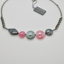 NECKLACE ANTIQUE MURRINA VENICE WITH MURANO GLASS ROSE AND GRAY COA87A45 image 2