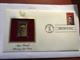 United States 22KT Gold FDC Ayn Rand 1999    stamps - $5.00