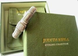 JUDITH RIPKA STERLING SILVER DIAMONIQUE CABLE CUFF BRACELET JR BOX & POUCH AVGE image 2