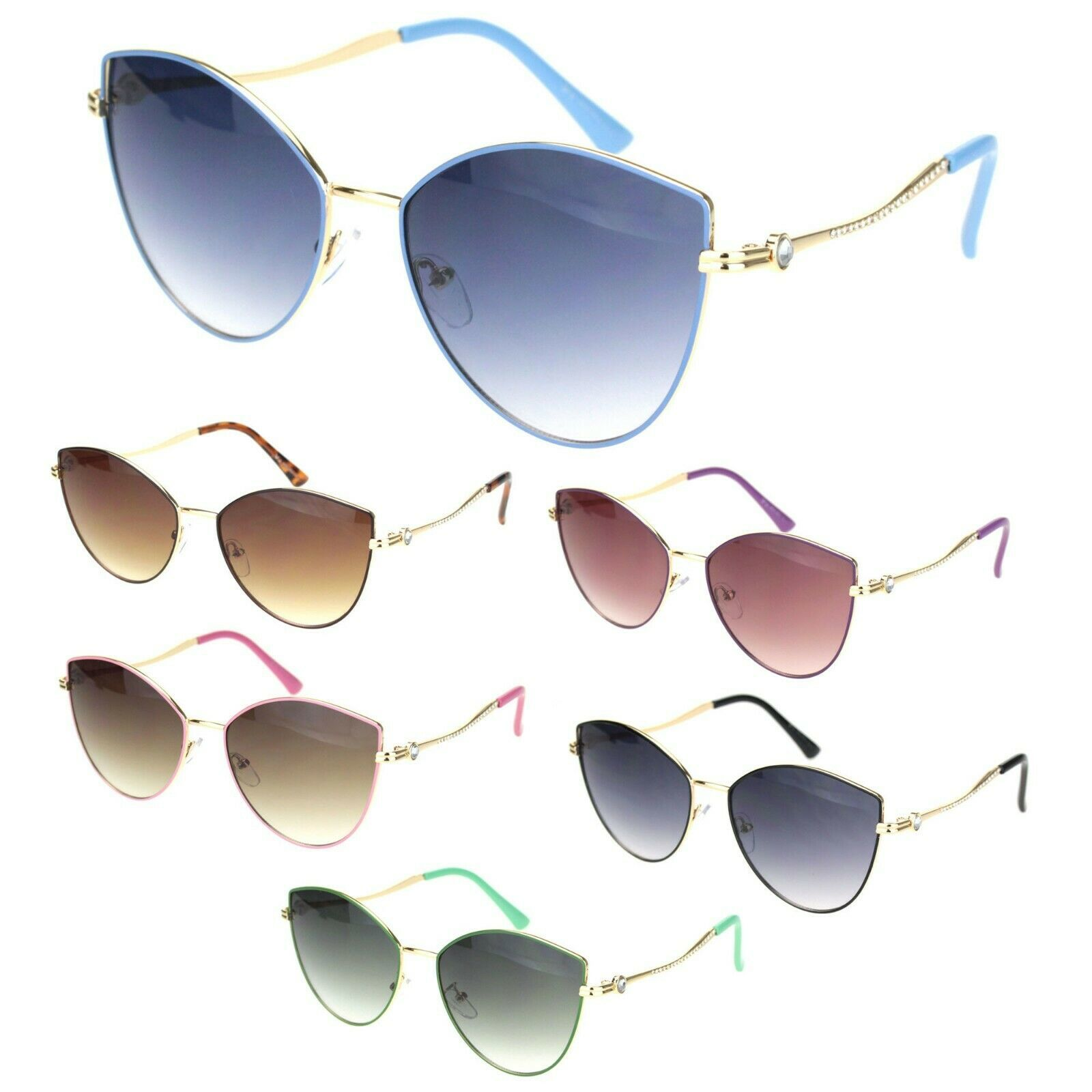 Womens Rhinestone Jewel Hinge Metal Rim Cat Eye Sunglasses