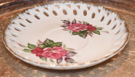 Vintage Tea  Saucer Only Rose Pink Gold LATTICE Pierced Painted JAPAN Bone - $14.99
