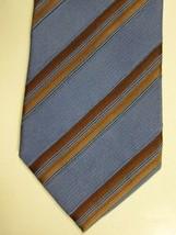 NEW Ermenegildo Zegna Mid Blue With Gold Stripe Silk Tie Italy - $67.08