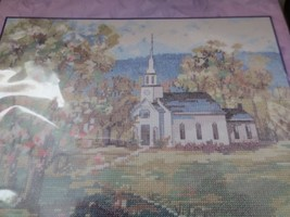 "Countryside White Church 12"" x 9"" Counted Cross Stitch Bucilla Crossstitch - $15.84"