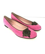 Lilly Pulitzer Womens 9.5 Pink Suede Flats with Brown Leather Flower Ros... - $39.59