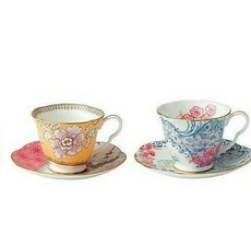 Wedgwood Butterfly Bloom Blue Tea Cup Saucer & Yellow Tea Cup Saucer Nib - $138.59