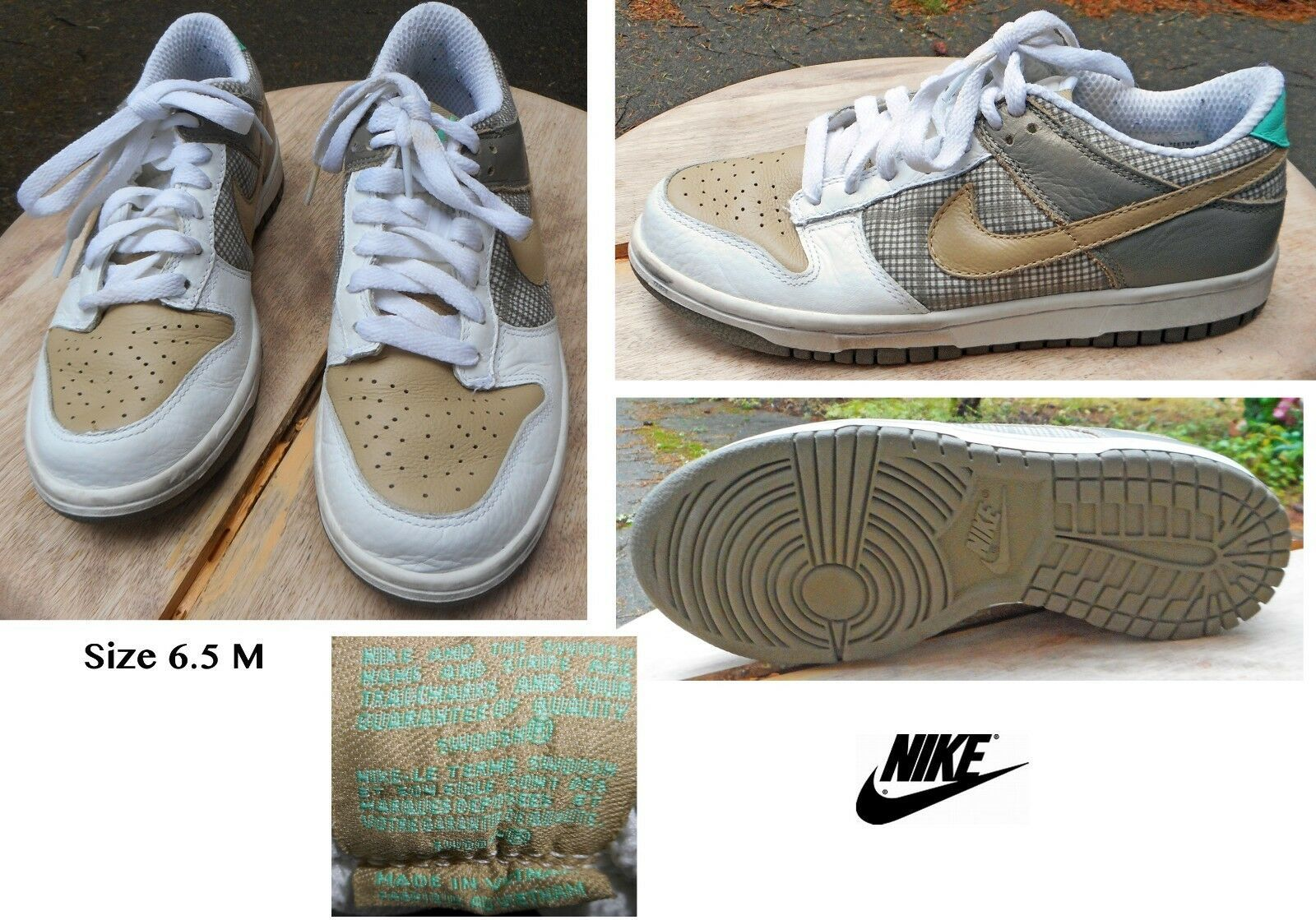 NIKE Low Dunk Shoes. White & Tan Leather w/Taupe Plaid. Size 6.5 M